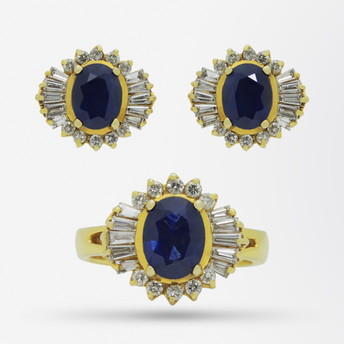 Gold, Ceylon Sapphire and Diamond Earrings and Ring Set