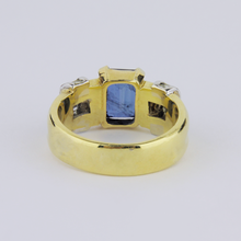 Load image into Gallery viewer, Gold, Diamond and Sapphire Ring