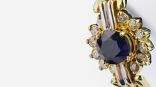 Load image into Gallery viewer, 14kt Diamond and Sapphire Stud Earrings