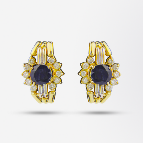 14kt Diamond and Sapphire Earrings