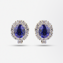 Load image into Gallery viewer, 18kt Sapphire and Diamond Earrings
