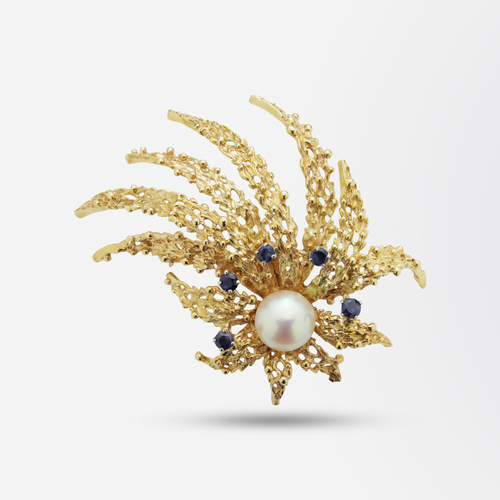 18kt Gold, Pearl and Sapphire Spray Brooch