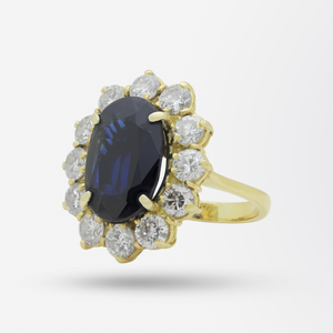 18kt Gold, Sapphire and Diamond Halo Ring