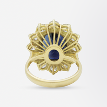 Load image into Gallery viewer, 18kt Gold, Sapphire and Diamond Halo Ring