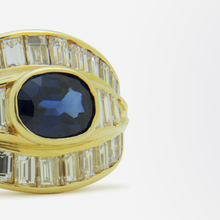 Load image into Gallery viewer, 18kt Gold, Baguette Diamond, and Sapphire Ring