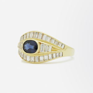 18kt Gold, Baguette Diamond, and Sapphire Ring
