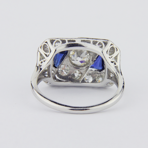 Art Deco Platinum Diamond and Sapphire Ring