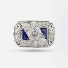 Load image into Gallery viewer, Art Deco Platinum Diamond and Sapphire Ring
