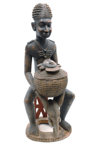 Life-Size Carved Wooden Figure with Lidded Vessel - The Antique Guild