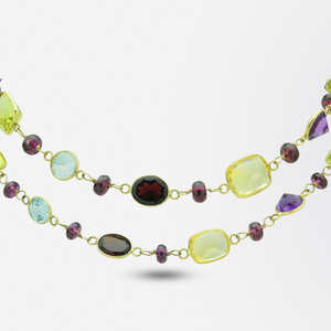 Garnet, Citrine, Amethyst and Topaz Opera Length Necklace in 14kt Gold