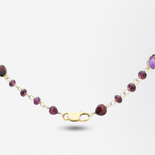 Load image into Gallery viewer, Garnet, Citrine, Amethyst and Topaz Opera Length Necklace in 14kt Gold