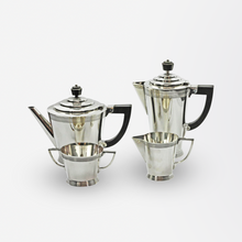 Load image into Gallery viewer, Four-Piece Art Deco Silver Plate Tea Set by Keith Murray for Mappin and Webb