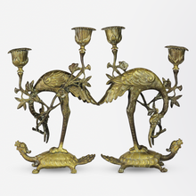 Load image into Gallery viewer, Pair of Japanese, Brass Candlesticks