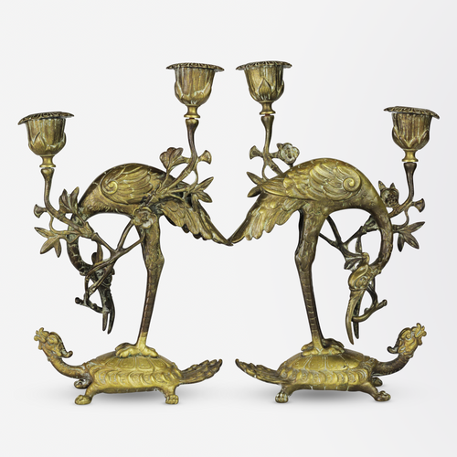 Pair of Japanese, Brass Candlesticks