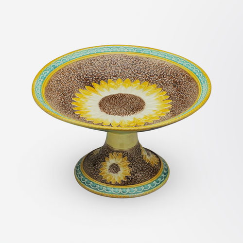 Majolica Sunflower Comport in Aqua, Browns and Yellows