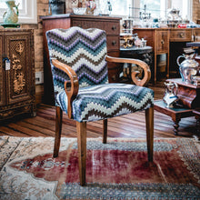 Load image into Gallery viewer, Pair of  Biedermeier Arm Chairs with Zig Zag Moth fabric - The Antique Guild