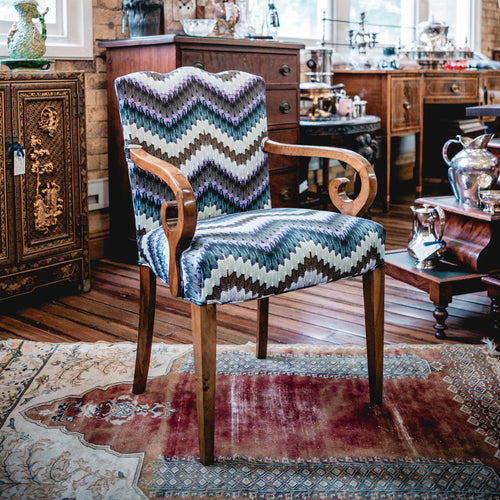 Pair of  Biedermeier Arm Chairs with Zig Zag Moth fabric - The Antique Guild