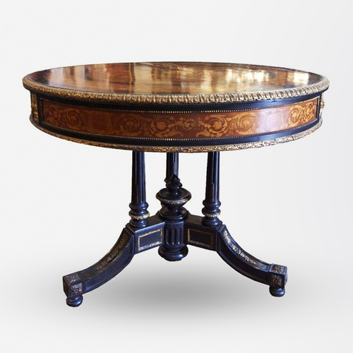 Early 19th Century French Empire Marquetry Drum Table