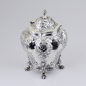 Sterling Silver Repousse Tea Caddy