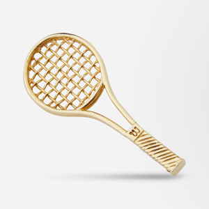 14kt Yellow Gold Tennis Racquet Brooch Pin