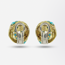 Load image into Gallery viewer, Pair of Tiffany & Co. 18kt Yellow Gold Swirl Ear Clips with Turquoise