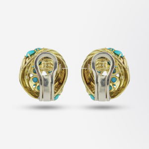 Pair of Tiffany & Co. 18kt Yellow Gold Swirl Ear Clips with Turquoise