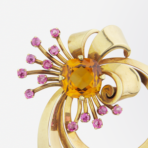 Tiffany & Co. Retro 14kt Brooch with Citrine and Tourmalines