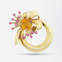 Load image into Gallery viewer, Tiffany & Co. Retro 14kt Brooch with Citrine and Tourmalines