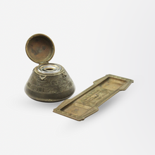Load image into Gallery viewer, Tiffany Studios Bronze Inkwell and Pen Tray in The American Indian Pattern