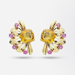Retro Tiffany & Co. 14kt, Citrine and Tourmaline Earrings