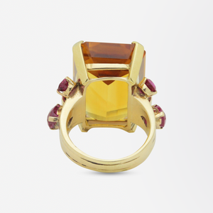 1950s, Retro Tiffany & Co, Citrine and Ruby Cocktail Ring