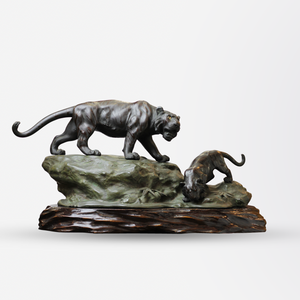 Japanese Bronze Tiger Statue