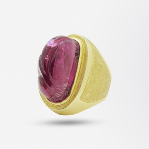 18kt Gold and Pink Tourmaline Ring Attributed to Burle Marx