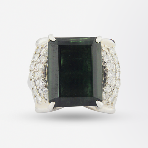 Platinum, Diamond, and Tourmaline Ring