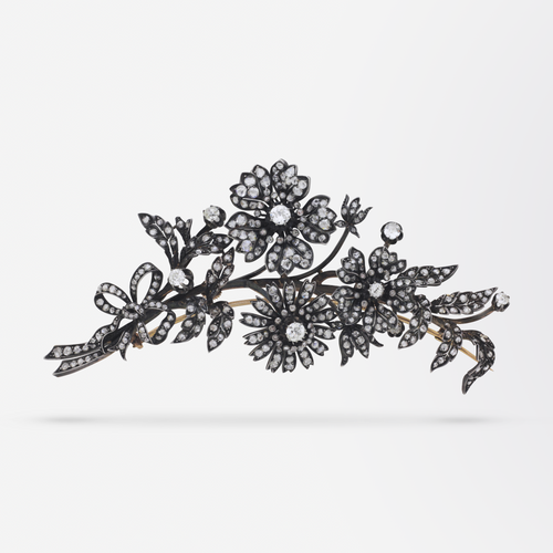 19th Century, 18kt Yellow Gold and Diamond 'En Tremblant' Brooch