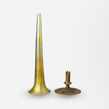 Load image into Gallery viewer, Tiffany Studios Glass and Bronze Trumpet Vase