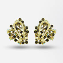 Load image into Gallery viewer, Mid Century, Gold, Turquoise & Diamond Ear Clips