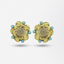 Load image into Gallery viewer, Pair of 18kt Gold, Agate, and Turquoise Stud Earrings