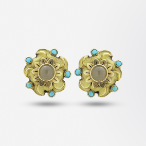 Pair of 18kt Gold, Agate, and Turquoise Stud Earrings
