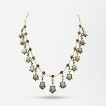 Load image into Gallery viewer, Victorian 14kt Gold and Turquoise Festoon Necklace