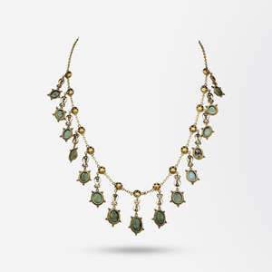 Victorian 14kt Gold and Turquoise Festoon Necklace