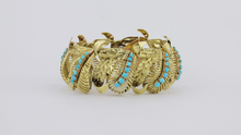 Load image into Gallery viewer, 14kt Mid-century Turquoise Bracelet