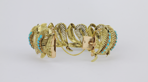 Retro Period 14kt Gold and Turquoise Bracelet