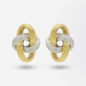 18kt Two Tone, Florentine Finish, Infinity Style Earrings