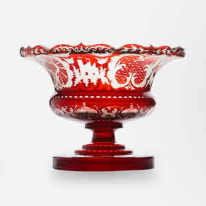 Bohemian Ruby Glass Compote
