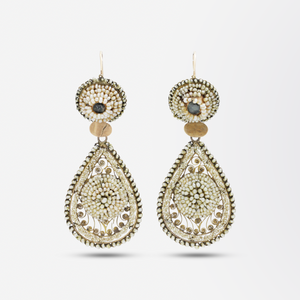 19th Century, Italian Gold and Seed Pearl Earrings