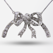 Load image into Gallery viewer, 18kt White Gold Necklace with a Diamond Set Bow