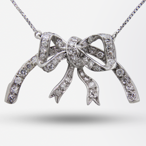 18kt White Gold Necklace with a Diamond Set Bow