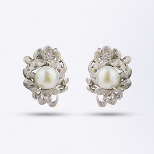 14kt White Gold, Pearl and Diamond Earrings