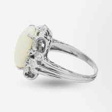Load image into Gallery viewer, 1940s Era, 18kt White Gold, Cabochon Opal, and Diamond Ring